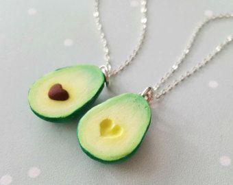 Migliore amico Kawaii Avocado collana gioielli vegano