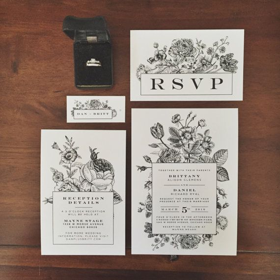 Vintage Botanical Inspired Wedding Invitations  Boho by OhWhatLove