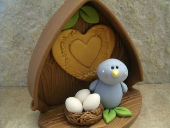 Bluebird and Nest of Eggs  I bet I could make this from sculpy