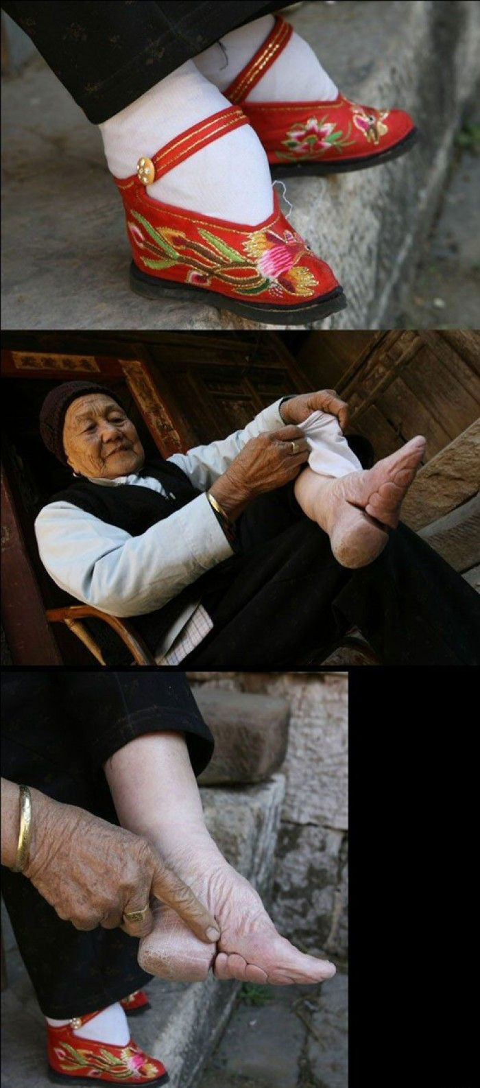 In many Asian countries, people have believe that small feet of women are one of the most important traits that men looks for. Of course this is not really going on as seriously as 50 years ago. Here's a picture of an old woman who used to wear 'lotus shoes' for appeal.