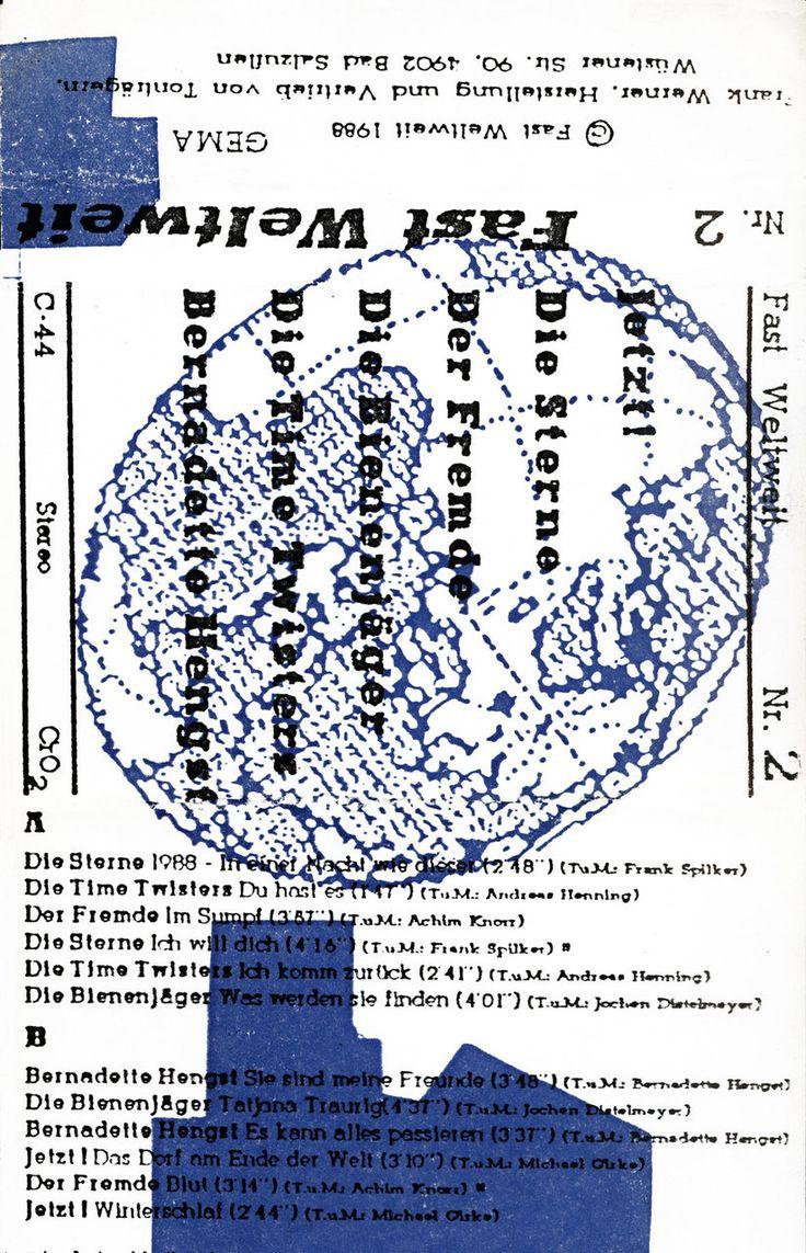 Fast Weltweit Sampler Nummer 2  Tonkassette, Cover 1988  Bernadette Hengst, Der Fremde, Die Bienenjäger, Die Sterne, Die Time Twisters, Jetzt!  Design© Frank Spilker, Frank Werner, 1988