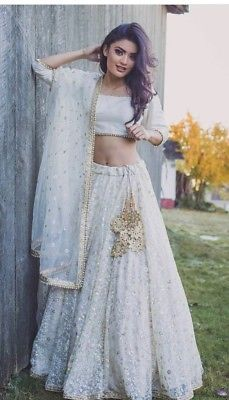 Details about white net thread sequins embroidery indian wedding wear lehenga choli readymade
