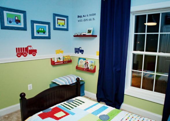 Connors first big boy room a truck themed room for my for Blue and white boys room