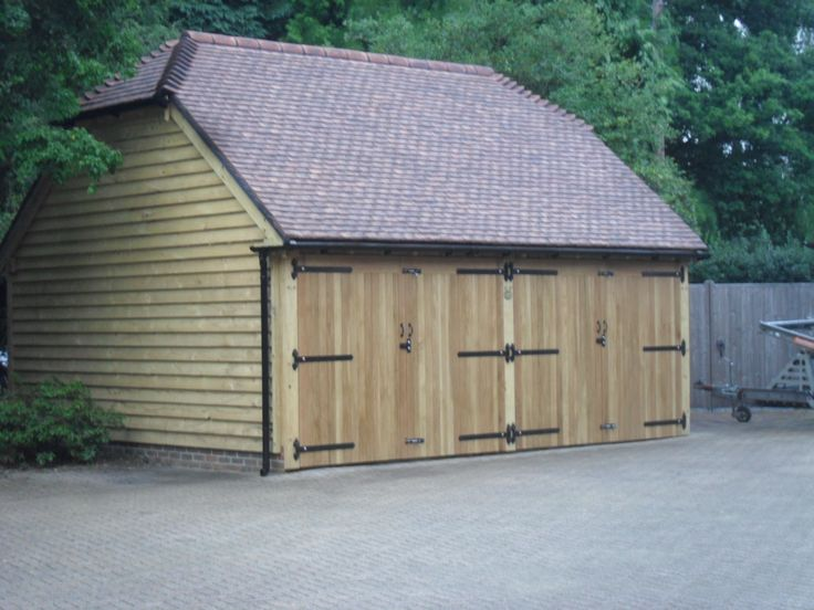 2 bay oak garage with a half hipped roof for 2 bay garage