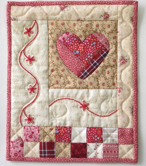 Shabby Chic Wall Quilt Heart Decor by LittleTreasureQuilts - maybe 2 of these together would make a cute table runner!