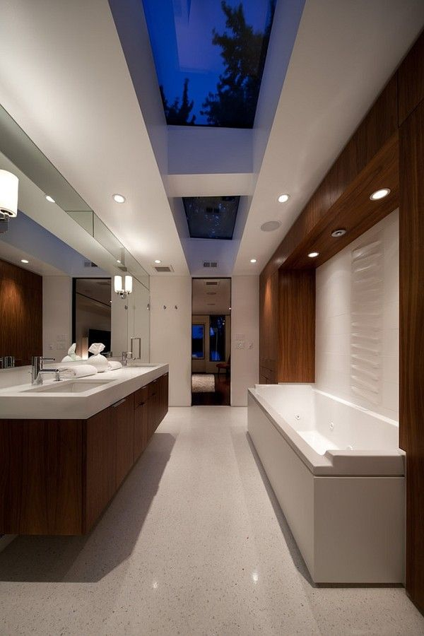 Midcentury modern master bath with fabulous use of skylights