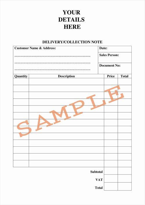 Delivery Order Delivery Order Note Sample