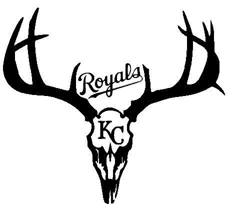 Kansas City Royals Deer Hunting Antler Skull Truck or Wall Decal 10.25 x 11.5 in #kansashuntinggirl