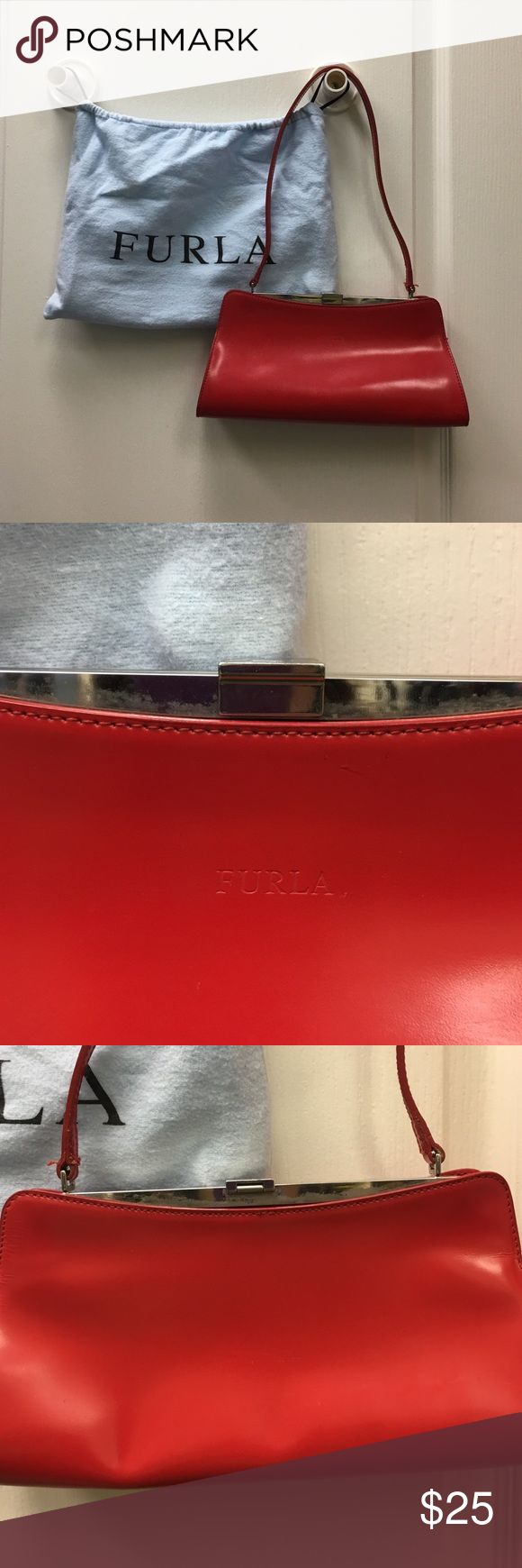 Perfect Furla bag for partying on New Years Eve! Gorgeous, 💄red color.  Good used condition. Bought from another posher as an impulse buy last month. Some wear on the hardware as seen in pictures, as well as a few marks on the bottom right.  A perfect bag for a night on the town on New Years Eve!  🎉 🎉 Furla Bags Shoulder Bags