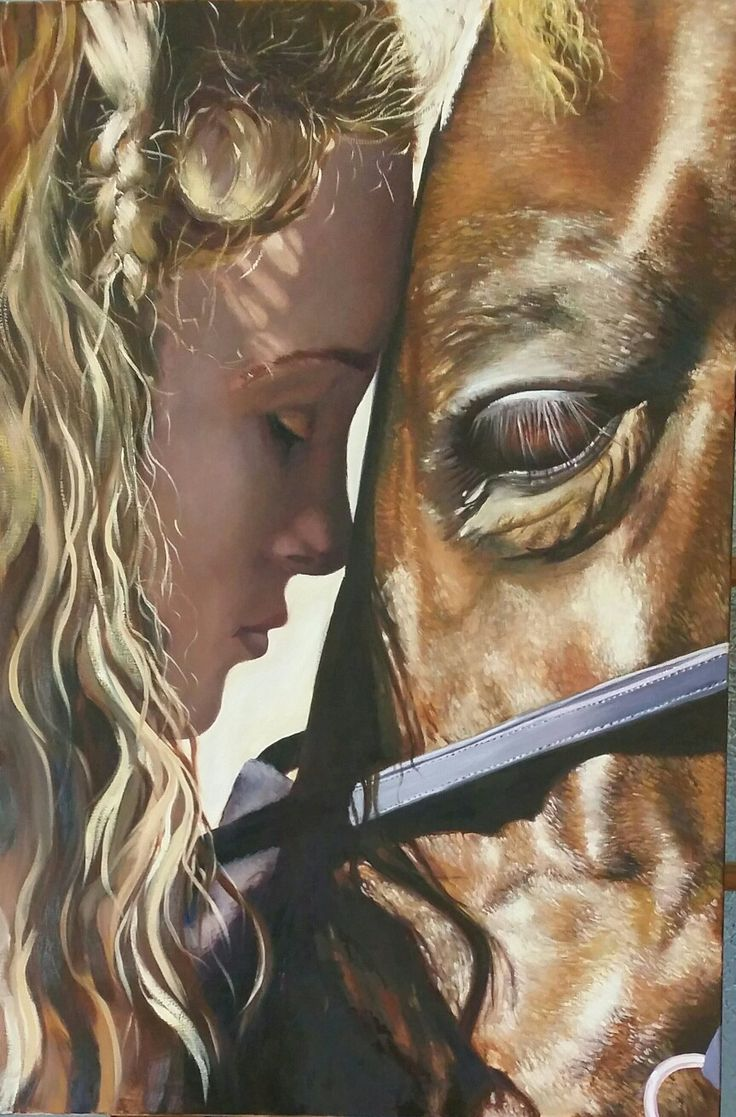 """""""Best Friends"""" by Susan Curtin. Oil on stretched canvas. 90x60cm  This was a very special painting for me, as I attempted to capture the relationship between my gorgeous niece and her horse, Georgie.  facebook: Susan Curtin Art Instagram: dragonfly77w"""