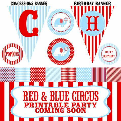 free circus labels | ... party red and blue circus or carnival it will be available in a couple