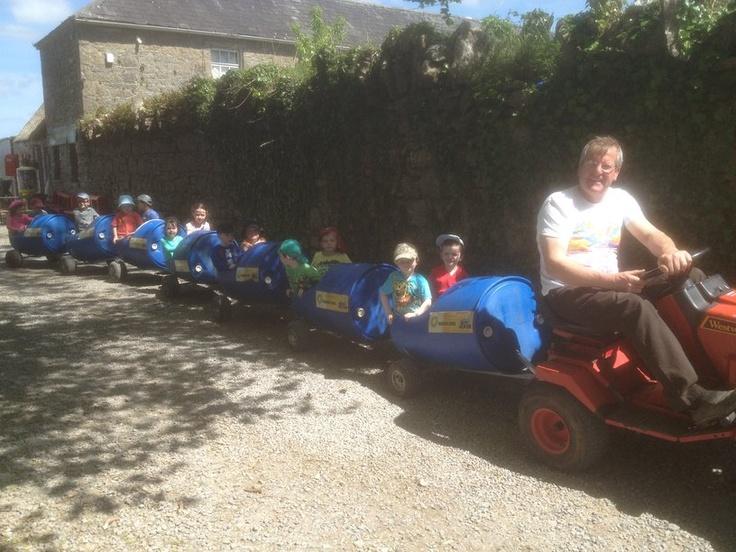 Farmer Matt will take the children on a barrel train ride.  It is great fun and the kids love it.