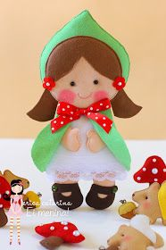 Adorable felt Little Red Riding Hood, Grandma, Woodcutter and Wolf - pictures, but no directions