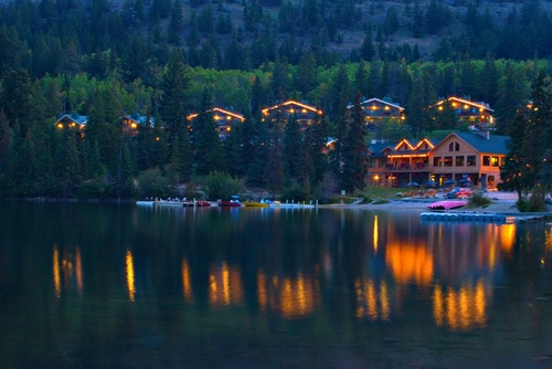 Cabins on Pyramid Lake in Jasper National Park. This is a beautiful place to stay