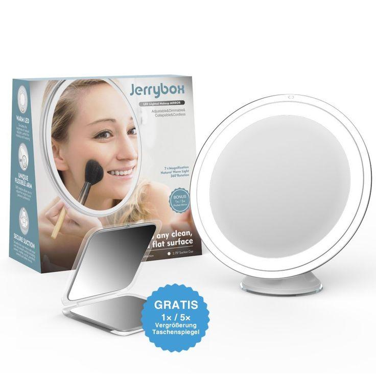 Jerrybox Schminkspiegel mit Beleuchtung 360° Rotation Kosmetikspiegel mit 7-Facher Vergrößerung, LED Beleuchteter Makeup Spiegel, Verstellbar, Dimmbar, Zusammenklappbar, Batteriebetrieb, Rund, GRATIS Taschenspiegel (1X/5X Vergrößerung): Amazon.de: Küche & Haushalt