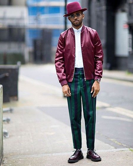 Get this look: http://lb.nu/look/8159109 More looks by Martell Campbell: http://lb.nu/martellcampbell Items in this look: D'lyle Treasure Wine Hat, Paul Smith Red Bomber Jacket, Ami Paris Stripe Shirt, Ami Paris Stripe Trousers, Church's Derby Shoes #artistic #chic #colourful #colour #tapered #complimentary #londonstlyle