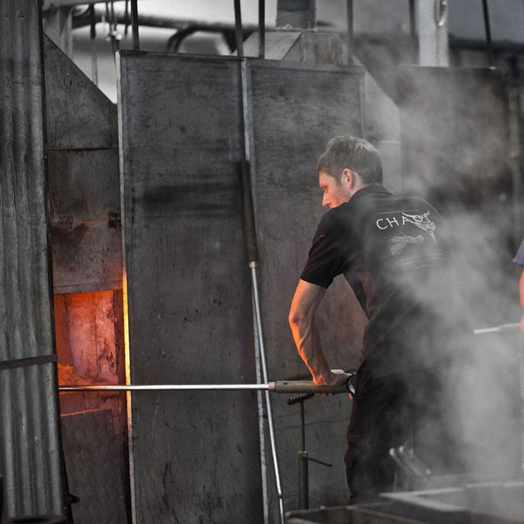 Glass blower at Målerås Glassworks.