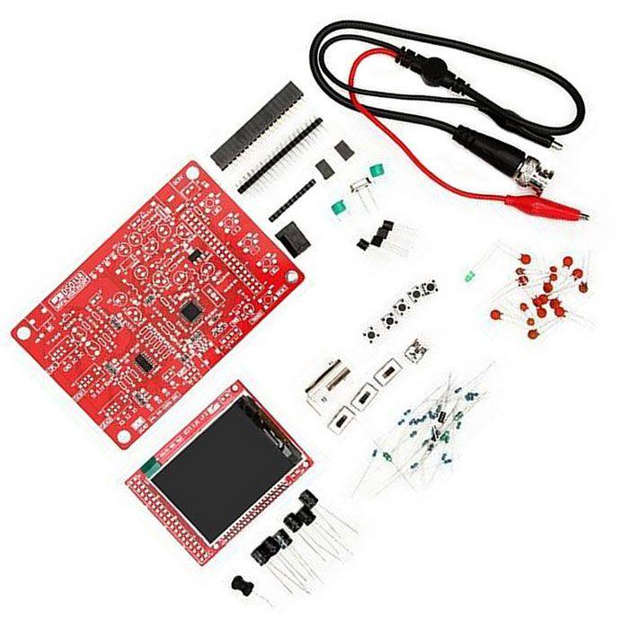 DIY Digital Oscilloscope Kit SMD Soldered Version Electronic Learning Kit - Red. Characteristics of indicators: Maximum real-time sampling rate: 1Msps; Accuracy: 12Bit; Sampling buffer depth: 1024 bytes; Analog bandwidth: 0 - 200KHz; Vertical Sensitivity: 10mV / Div - 5V / Div (1-2-5 progressive manner); Adjustable vertical displacement, and with instructions; Input impedance: 1M; Maximum input voltage: 50Vpp (1: 1 probe), 400Vpp (10: 1 probe); Coupling modes: DC / AC / GND; The horizontal…