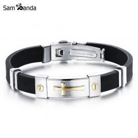 Men Jewelry Black Silicone Rubber Bracelet Silver-Golden Cross