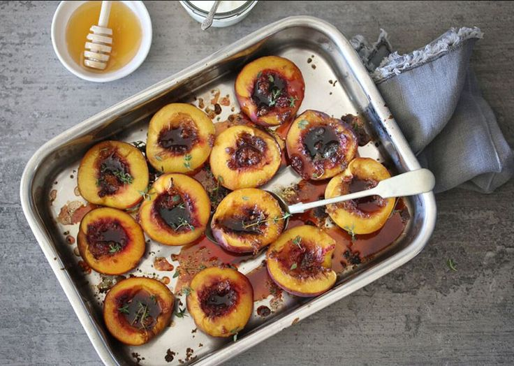 Baked Nectarine with Ginger, Honey & Thyme on Afternoon Express using #Selati