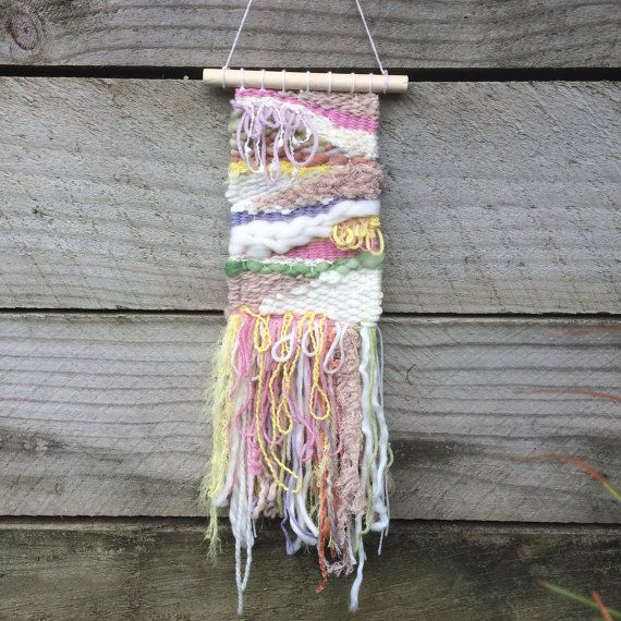 Woven wall hanging pastel rainbow colours wall by jazzymakes