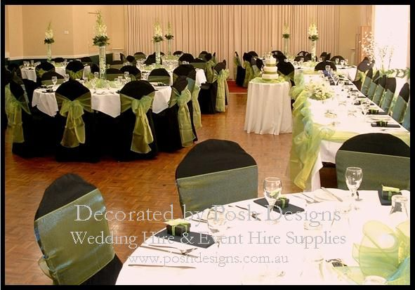 Lime green organza sashes, black lycra chair covers, white table cloths, bridal skirting with lime green swagging - #wedding and #event #theming available at #poshdesignsweddings - #sydneyweddings #countryweddings #southcoastweddings #wollongongweddings All stock owned by Posh Designs Wedding & Event Supplies - lisa@poshdesigns.com.au,  www.poshdesigns.com.au or www.facebook.com/poshdesigns.com.au #Wedding #reception #decorations #Outdoor #ceremony decorations #Corporate #event decoration