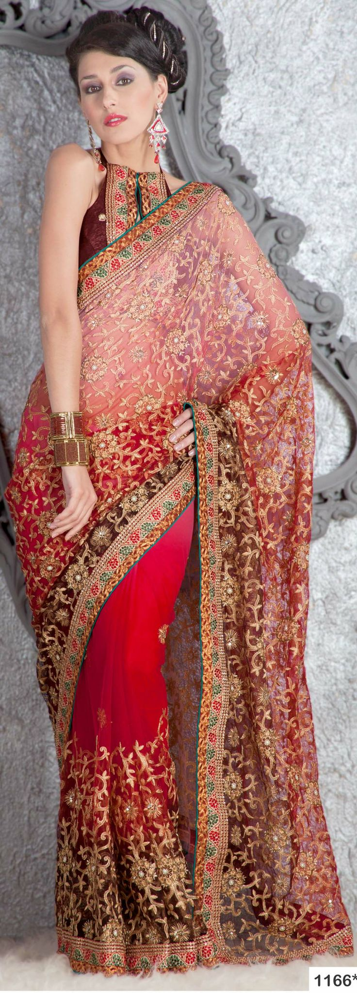 Red Coloured Netted Designer Saree