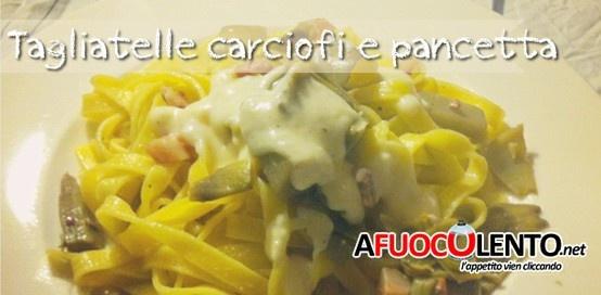 TAGLIATELLE CON CARCIOFI, PANCETTA E CREMA DI PARMIGIANO  #parmesan #tagliatelle #ham #pancetta #ricette #italiancook