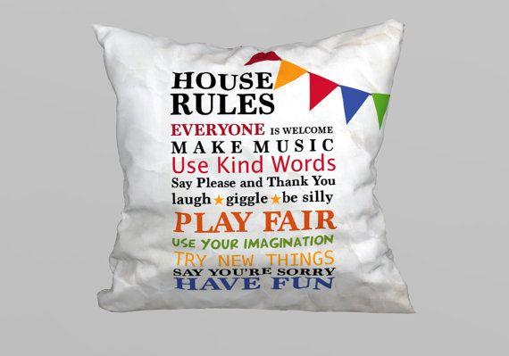 Unique MagicDallas Design House Rules Pillow 45x45cm - (without Filling) - Size 45x45cm - Microfiber - MagicDallas Unique Designs  *** please note