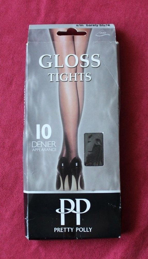 93eb2d5c599 Pretty Polly Womens 10 Denier Gloss Tights Barely Black Size S M ...
