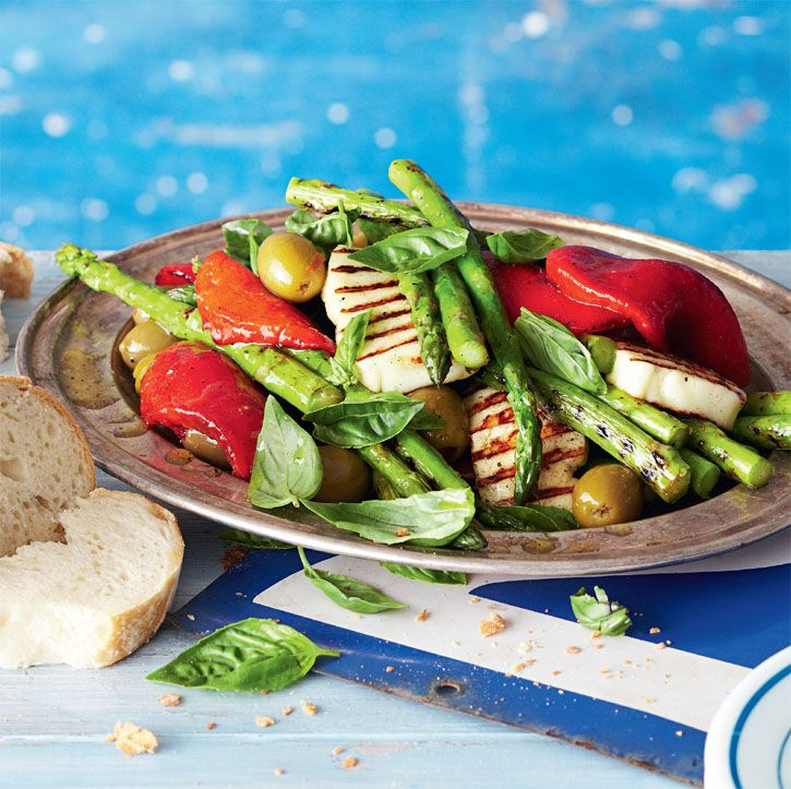 Asparagus and haloumi salad. Find crusty baguettes in the Woolworths Bakery. You can chargrill on the barbecue to add crunch. #Woolworths #recipe #salad http://www.woolworths.com.au/wps/wcm/connect/Website/Woolworths/FreshFoodIdeas/Recipes/Recipes-Content/asparagusandhaloumisalad