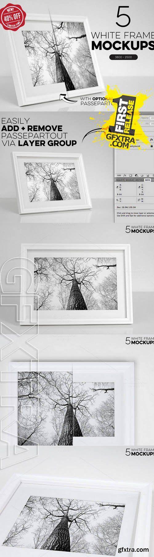 Bundle of 5 White Frame Mockups - Creativemarket 72044
