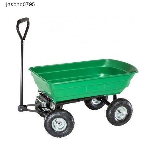 Garden Trolley Rubbish Cart Truck Heavy Duty Farm Wheelbarrow Trailer Tools Bins