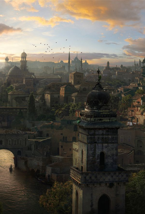Ancient city matte painting by Catzwolf Group, via Behance