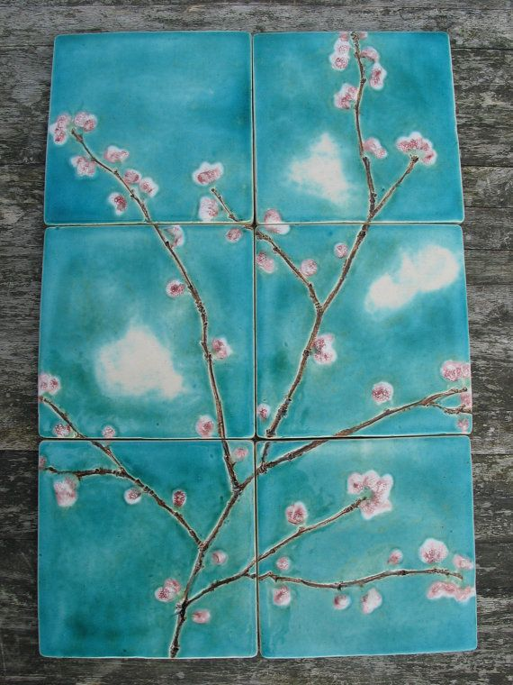 6 cherry blossom ceramic tiles pink turquoise dreamy white clouds kitchen bathroom MADE TO ORDER on Etsy, $122.55