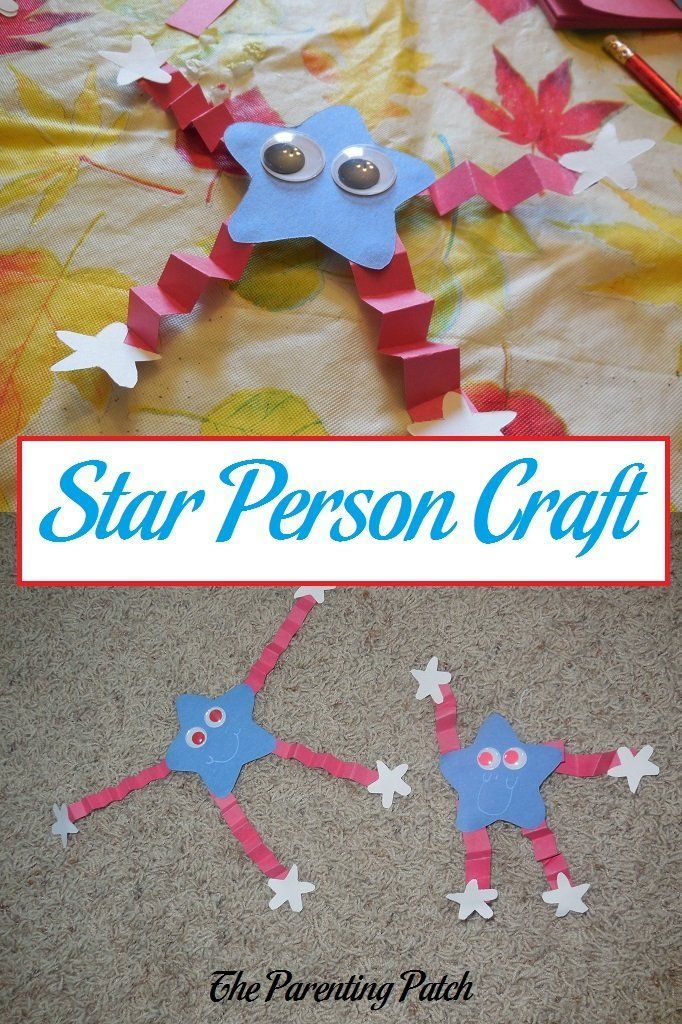 How to make a patriotic red, white, and blue star person from construction paper for Memorial Day, Flag Day, Independence Day, and Labor Day.