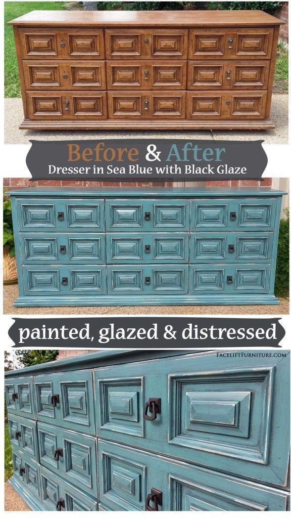 Distressed sea blue dresser with black glaze Before and after from