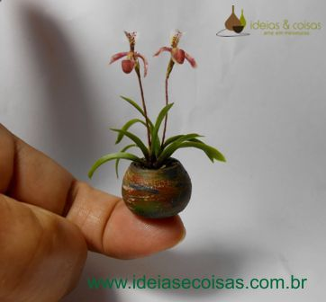 Miniature orchid Paphiopedilum - handmade modeling clay cold porcelain. 1:12 scale