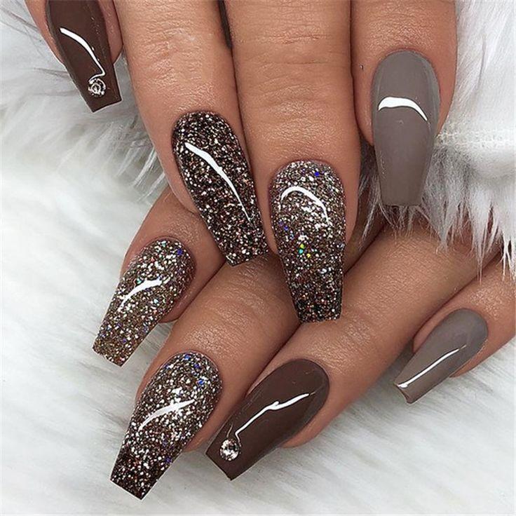 black white acrylic coffin nail