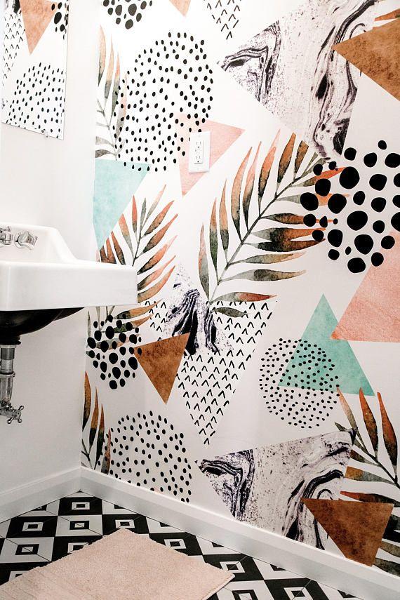 Abstrakte Palm Leaf Tapeten || Pastell-Farben || Schälen und stick Tapeten || Abnehmbare Tapeten || Temporaty Wandbild #18