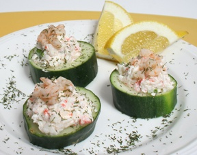 crab or shrimp salad topped cucumber (you can use zucchini too)