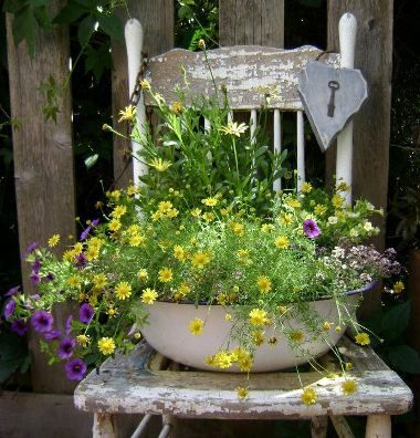 Idea: Antique enamel bowl + old chair = great container garden.