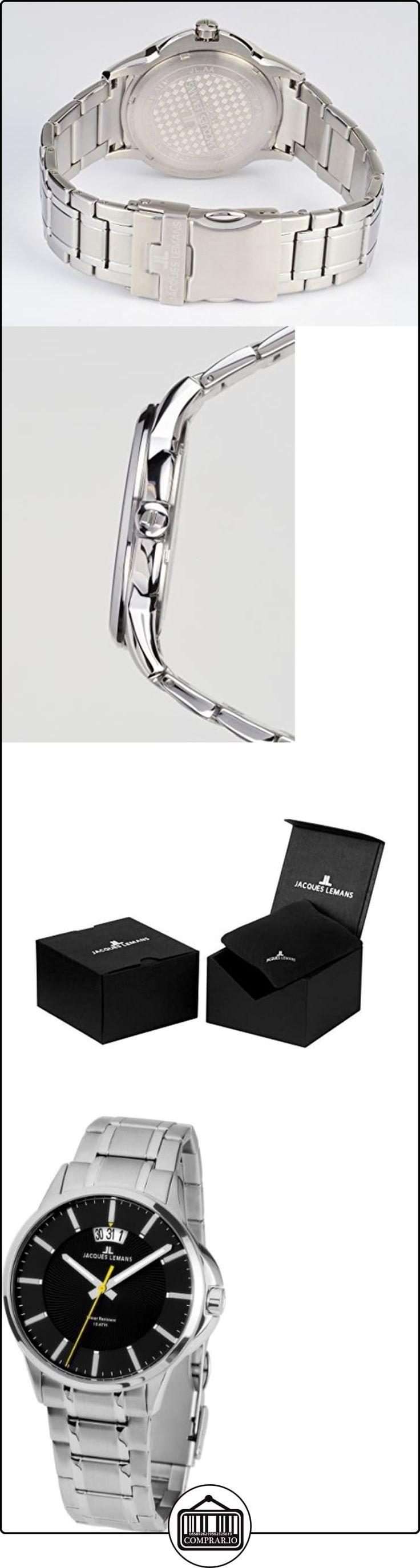 JACQUES LEMANS Sydney 1-1540D - Reloj de caballero de cuarzo, correa de acero inoxidable color plata  ✿ Relojes para hombre - (Gama media/alta) ✿