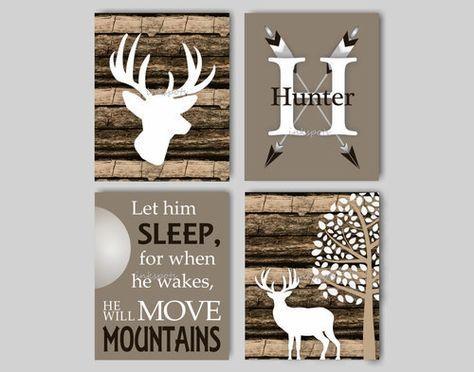 Baby Boy Nursery Art Rustic Nursery Art Deer Nursery Bedding Decor Woodland Nursery Let Him Sleep Camouflage Deer Print Choose Colors WD44251