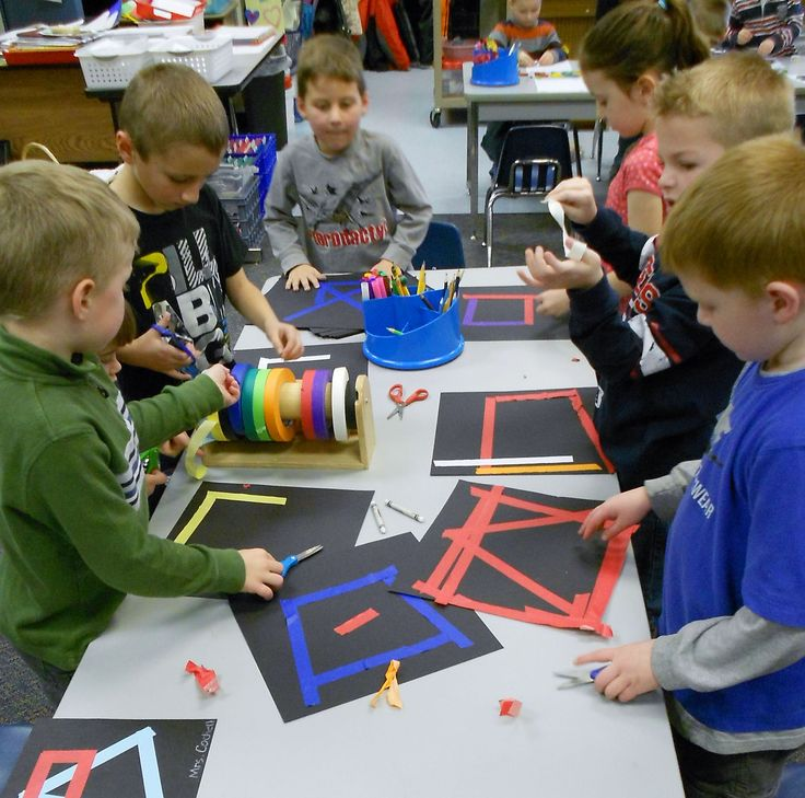 Great focus while making 2D shapes with tape!  This and many, many more 2D & 3D shape lessons for kindergarten students.  Lessons meet Common Core Geometry Standards in Kindergarten.  Plus, activity sheets as needed,  benchmark checklists and assessment.$