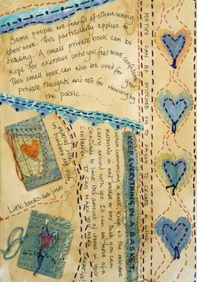 Lots of stitching on her pages make them very interesting... Frances Pickering