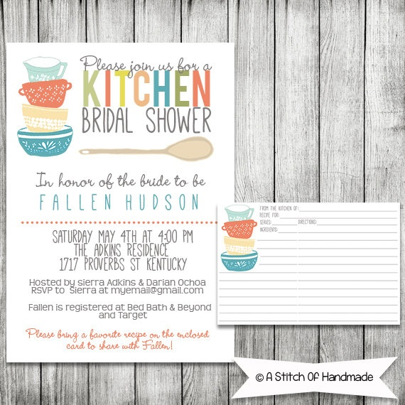 Kitchen bridal shower invitation printable file 5 x 7 for Bridal shower kitchen tea ideas