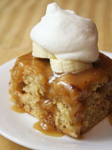 Banana Sticky Toffee Pudding Cake...with toffee sauce!! Mmmm good!