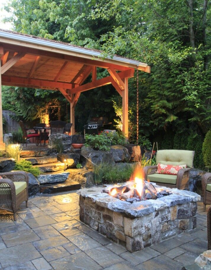 Square stone firepit! all it needs are some string lights!