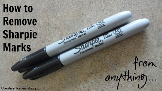 How to remove Sharpie permanent pen marks: Toothpaste, hair spray, denatured alcohol, nail polish remover.